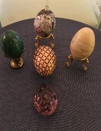Gorgeous decorative glass, marble, and ceramic Eggs