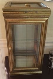 Miniature Gold Tone Curio Cabinet with two glass shelves. Very Nice