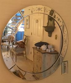 Beautiful round decorative etched mirror
