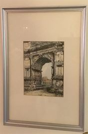 Sepia Toned Arch de Triumph, nicely matted and framed