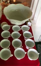 Ceramic punch bowl with 12 cups