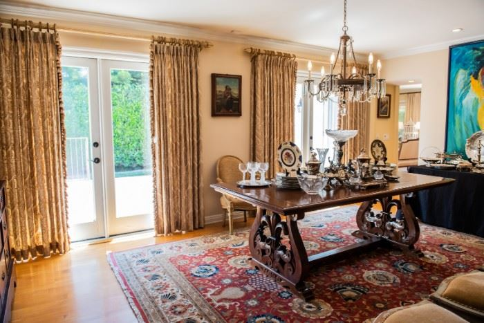 1920's Spanish Walnut Refectory Table                    Beautiful Drapery for Sale!