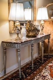 Carved & Painted Marble Top Console