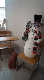 school desks with Snowman