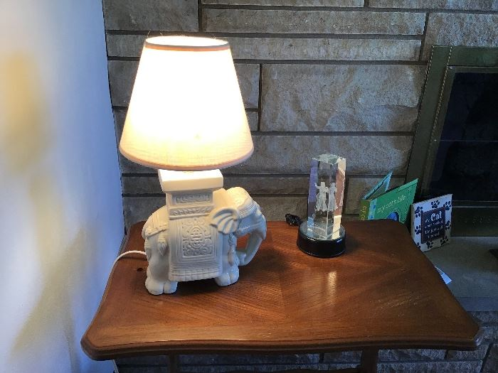 White elephant table lamp