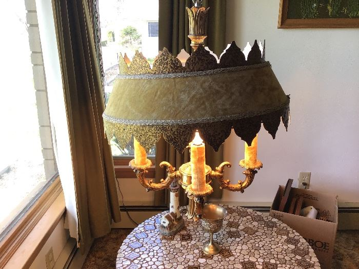 Gothic gold hanging lamp,original velvet shade