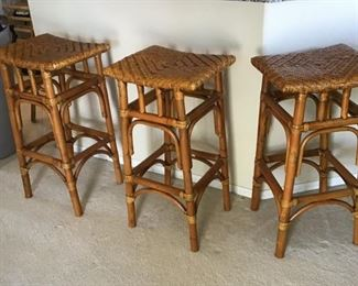 rattan tops / bamboo legs backless bar stools (6 available)