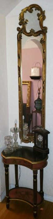 gilded tall hallway mirror