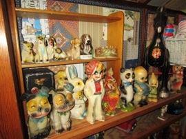 Vintage figural chalkware collection, antique metal horse