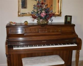 Beautiful Kimball Console Piano in Great Condition! plus Lovely Gold Gild and Beveled Wall Mirror, Flower Arrangement and more