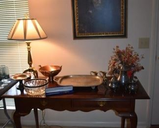 Gold Gild Framed Portrait of Rennaisance Man in Armor, Broyhill Queen Anne Table, lots of Silver and More!