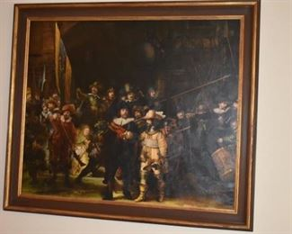 "Gorgeous large Painting of Rembrandt's ""The Night Watchman"" Very large Wonderful Painting!"