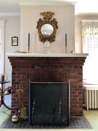 Federal Mirror, Andirons & Fireplace Items