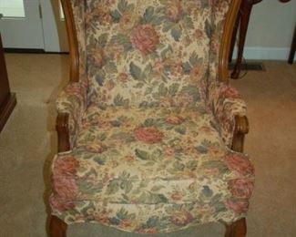 High back cushioned arm chair (one of two)
