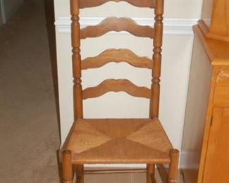 Ladderback weaved bottom high back chair