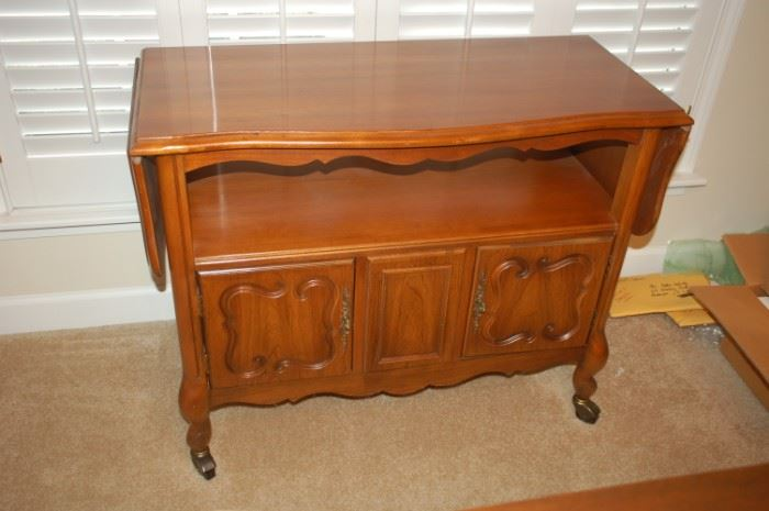 """Vintage bar/tea cart buffet server with folding extensions 17.75"""" D x 29""""H x 38"""" W,  with extensions 57"""""""