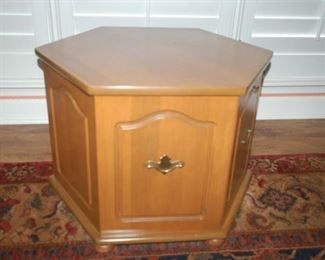 """6 sided side table with storage, 23.5""""W  X  19""""H"""