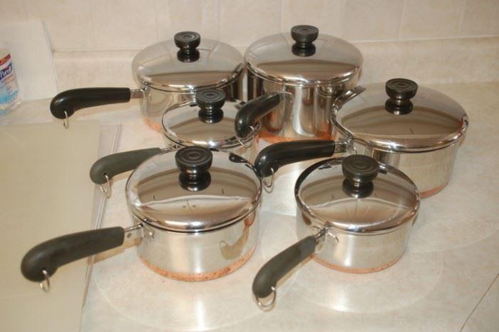 Revere copper bottom pots/pans