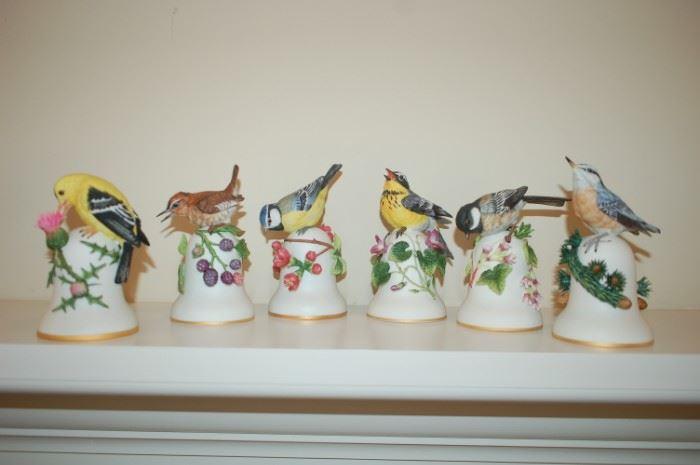 Peter Barrett ceramic bird bells; Goldfinch, Wren, Blue Jay, Magnolia Warbler, Black Capped Chickadee, Nuthatch