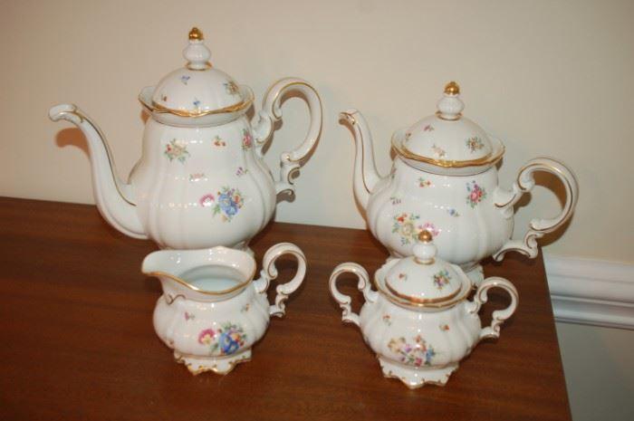 Coffee Pot, Tea Pot, Cream and Sugar - Hutschenreuther Gelb, Bavaria Germany, PASCO, 7619, Mayfair