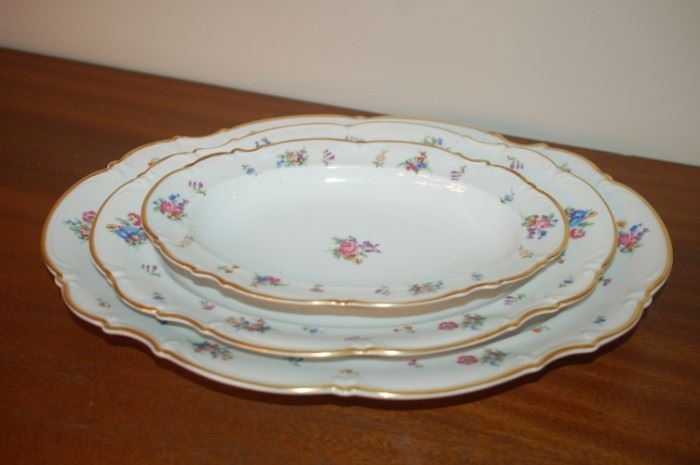 """Oval platters, 15"""", 13"""". 10"""" - Hutschenreuther Gelb, Bavaria Germany, PASCO, 7619, Mayfair"""