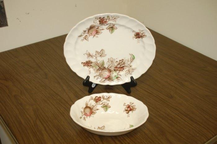 "Johnson Brothers ""Harvest Time"" 9"" bowl, 12"" platter"