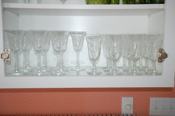 Crystal globlets and wine glasses