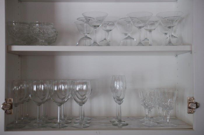 Wine glasses assorted stemware