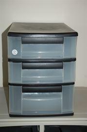 Set of three plastic storage bins