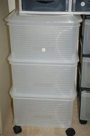 Large plastic storage bins