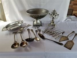 Collection of silver plated and silver tone Dining Dishes utensils and bowl https://ctbids.com/#!/description/share/136917