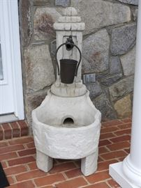 Cement Water Fountain On Pedestal