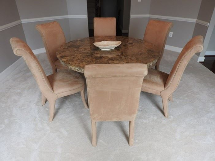 Danker Italian Marble Round Table With 5 Suede Chairs