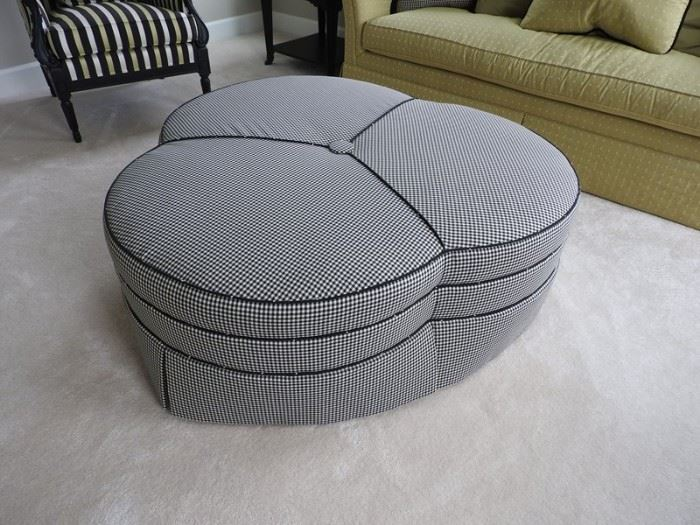 Drexel Heritage Black and White Fabric Ottoman