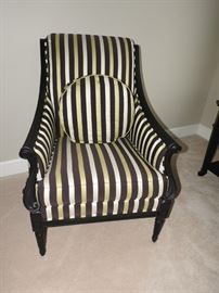 Drexel Heritage Striped Wood and Fabric Chair