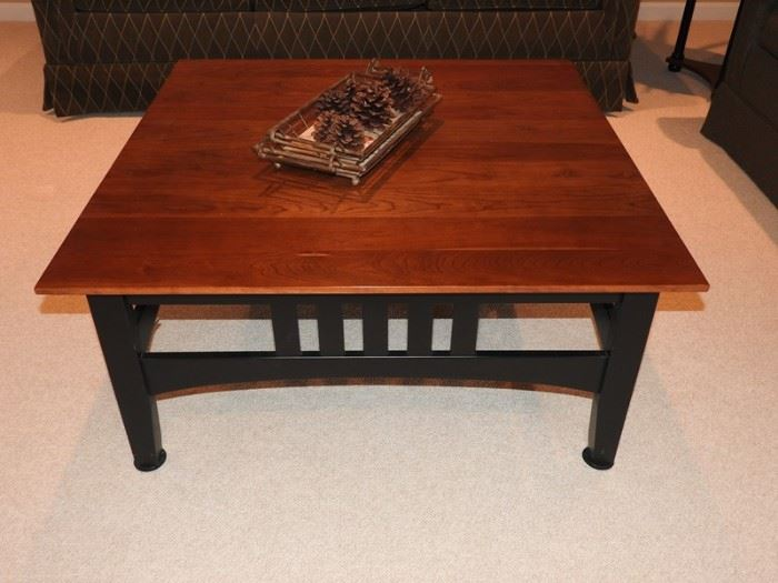 Ethan Allan Cherry and Black Large Square Coffee Table