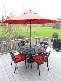 Patio 4 Chair Dining Set Black With Red Cushions And Umbrella