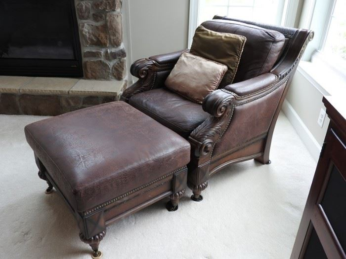 TS Berry Leather Chair and Ottoman