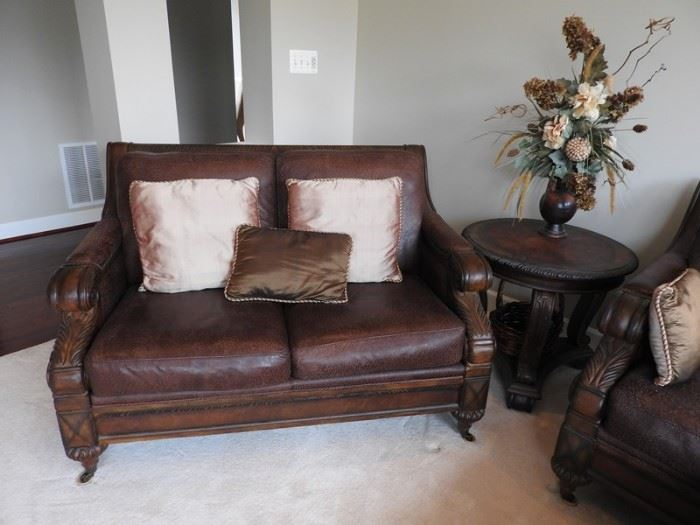 TS Berry Leather Loveseat and Endtable