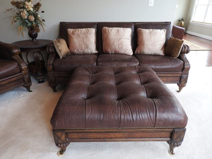TS Berry Leather Sofa and Ottoman