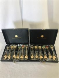 "2 Smithsonian ""Shogun"" Design gold plated spoon sets https://ctbids.com/#!/description/share/137304"
