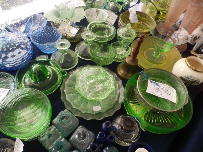GREEN ANTIQUE GLASSWARE