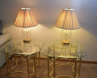 2 GLASS/BRASS SIDE TABLES, 2 MATCHING CRYSTAL LAMPS