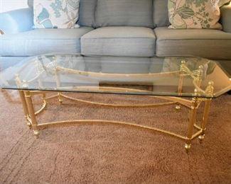 GLASS/BRASS COFFEE TABLE