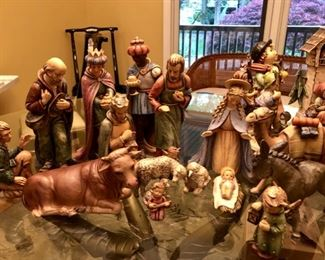 "Extra large vintage Goebel Hummel Moorish King Nativity set 17 piece 14"" tall figures"