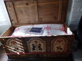 Stenciled blanket chest