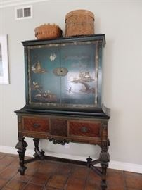 William & Mary style 1930-1940 black lacquered chinoiserie china cabinet w engraved brass mounts