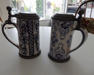 Blue ceramic and pewter mugs