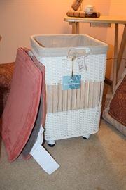 White Wicker Laundry Basket & Rugs