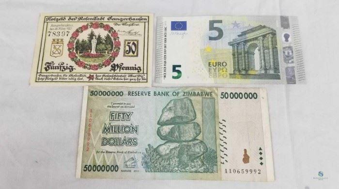1921 German, Zimbabwe and Euro Notes / 1921 German 50 Pfennig Note, 50 Million Zimbabwe Dollar Note, 2013 5 Euro note